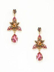 Fuschia Multi Crystal Leaf Burst Drop Earrings by BIJOUX HEART at Gilt