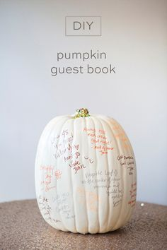 The perfect DIY touch for your halloween or fall wedding - the faux pumpkin guest book will become cherished decor to set out year after year! Halloween Bridal Showers, Baby Halloween, Halloween Wedding Favors, Halloween Ideas, Halloween Costumes, Beach Wedding Favors, Diy Wedding, Fall Wedding, Wedding Ideas