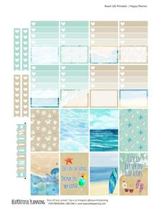 Free Printable Beach Planner Stickers {PDF and Silhouette Files for the Happy Planner and Erin Condren} from BEaYOUtiful Planning