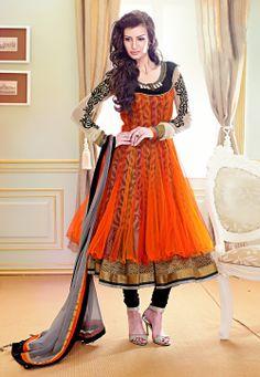 #Orange Net #Readymade #Anarkali #Churidar Kameez