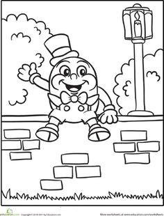 Preschool Kindergarten Fairy Tales Worksheets: Humpty Dumpty Coloring Page Worksheet