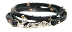 Rhinestone Love Black Wrap Bracelet.  Item #ZB0301GDBLK  Available at Impulse Gifts 812.481.2880 We ship daily.   https://www.facebook.com/ImpulseJasper