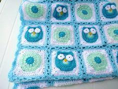 Crochet Owl Baby Blanket. Granny square Light by Mariannasboutique