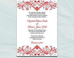 Red Wedding Invitation Template, Diy Elegant Bridal Shower, Birthday Party Invites Printable, Editable Text, Instant Download Pdf Word P98
