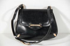 GUCCI Italian VINTAGE Black Leather SHOULDER BAG Flap Purse