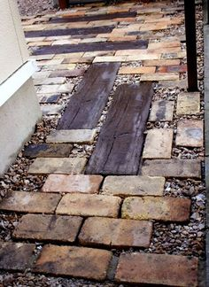 Mixed media paving .... Brick + Gravel + Railway Sleepers