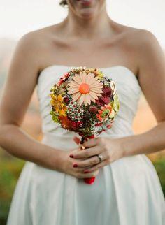 orange brooch bouquet