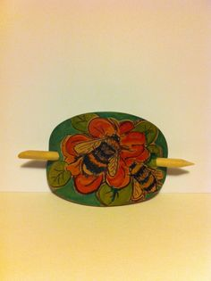 Bumble Bee Hand Illustrated Hair Barrette http://folksy.com/items/4285762-Hand-Illustrated-Leather-Hair-Barrette-Bumble-Bees