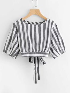striped split self tie back Teen Fashion Outfits, Cute Fashion, Trendy Outfits, Cool Outfits, Fashion Dresses, Blouse Styles, Blouse Designs, Vetement Fashion, Stylish Tops