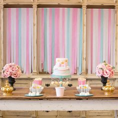 Princess themed dessert table - pink white and blue