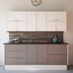 Semihandmadedoors.com SUPERMATTE shaker doors on ikea cabinets in grey black ad white tuxedo kitchen