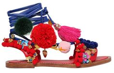 Sandales en cuir brodé de pièces et de pompons Dolce & Gabbana