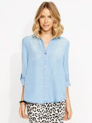 A loose fitting super soft shirt. Features button through front, with a floaty back detail and roll up 3/4 sleeves. Pefect weekend attire for running around doing errands