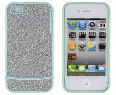 DandyCase Sea Green with Silver Sparkles Case for Apple iPhone 4, 4S - AT, Verizon, Sprint - Includes 24/7 Cases - Retail Packaging by DandyCase, http://www.amazon.com/dp/B008ZUPCKK/ref=cm_sw_r_pi_dp_LKn-qb0W5006S