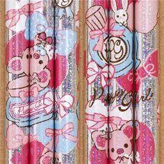 silver Piggy Girl glitter pencil with heart & perfume