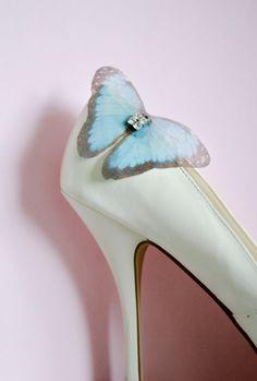 """""""Somthing blue"""" Butterfly Shoe Clip by JanaRoyaleDesign"""