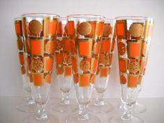 Set of 7 Mid Century Modern Mad Men Gold and Orange Cocktail Pilsner Glasses Culver Libbey