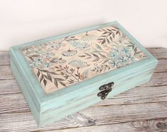 Tea box Mint green wooden box Tea bag storage Hand painted jewelry box Sewing box 6 compartments