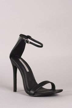 Liliana Rhinestone Ankle Strap Open Toe Stiletto Heel