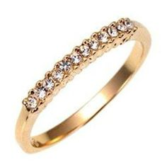 Swarovski Crystal Gold Eternity Ring Thin Band Wedding Size 9 10 USA Seller #Swarovski #Band