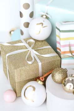 pretty gift wrap and DIY ornament gift tags