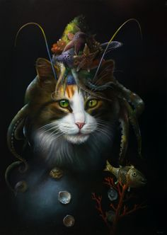 Painting Catfish by Wim Bals. An artwork with a cat as a main theme and elements from the sea. Custom Dog Portraits, Pet Portraits, Art Reproductions, Animal Drawings, Cool Cats, Cat Art, Cats And Kittens, Fantasy Art, Illustration Art