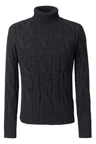 Classic Wool Alpaca Textured Turtleneck