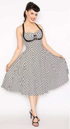Rockabilly Girl by Bernie Dexter**50s Style White & Black Polka Dot Bernie Swing Dress