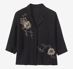 EMBROIDERED PJ SHIRT | Easy pj shirt in viscose crepe, hand embroidered with metallic threads. Just above elbow-length sleeves