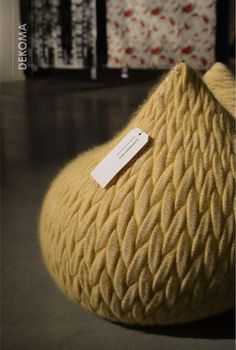 Slumber Pouf, another famous, hand finished work of art designed by Aleksandra Gaca. Made of mohair and wool, three-dimensional structures seem to be woven but as it occurs they are made using knitting techniques! #SlumberPouf