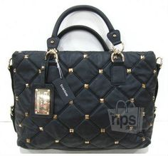 Bebe Black Quilted Pyramid Stud Tote Bag Purse New