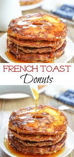 Donuts halves are dipped in a custard batter to make French Toast Donuts. Do I want donuts for breakfast? Or French toast? Donut French Toast, French Toast Muffins, Make French Toast, Donut Recipes, Cooking Recipes, Muffin Recipes, Ideas Tostadas, Pub, Donut Muffins