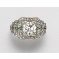 PLATINUM, DIAMOND AND SIMULATED EMERALD RING, CIRCA 1925 - Sotheby's