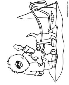 Dog Sled Coloring Page Of An Eskimo With A And