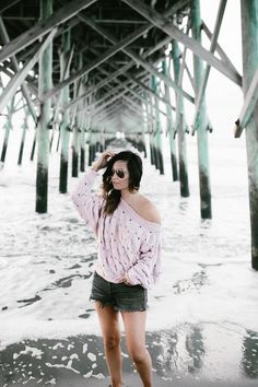 Sweater: Free People {also here . I'm wearing an xs} | Denim Shorts: Levi {also available here , on...