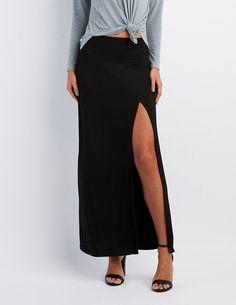 Wrap Slit Maxi Skirt   Charlotte Russe
