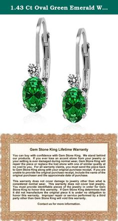 1.43 Ct Oval Green Emerald White Diamond 925 Sterling Silver Leverback Earrings. Contemporary and distinctive our Simulated Emerald and Diamond gem stone earrings are sure to be great addition to any jewelry collection. Simulated Emerald is a beautiful stone making it perfect for any occasion and holiday. Show her you care with a gift that will compliment her style flawlessly. As always with all of our products this item comes in packaging making it ready for gifting as soon as it is...