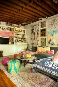 colorful decor - boho living room