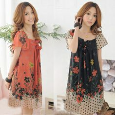 Brand new spring and summer 2014 women's large size loose chiffon puff sleeve dress free shipping