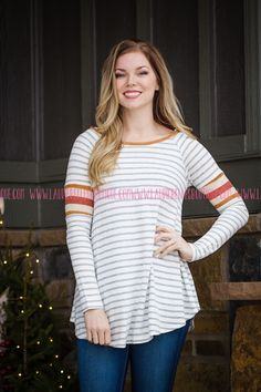 Contrast Band Striped Top