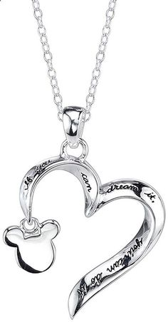 DISNEY Disney Mickey Mouse Sterling Silver Openwork Heart Pendant Necklace