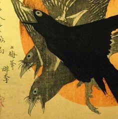 Woodblock Print 'Three Crows Against a Rising Sun' by  Kubo Shunman (Japanese Artist/Writer 1757-1820)