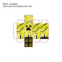 Papercraft Mini Elemental Creepers Minecraft Tutorial, Minecraft Crafts, Paper Stars, Paper Models, Creepers, Maya, Pikachu, Crafts For Kids, Scrapbooking