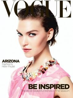 Loving Arizona Muse's bright floral collar on the cover of Vogue Australia