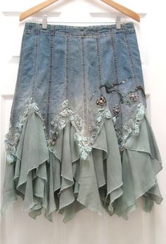 Altered Couture Womens Denim Skirt Vintage - Inspiration only!