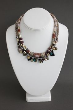 ethnic-necklace-layered-bead-rows-bijoux-montreal Charlotte, Montreal, Ethnic, Beaded Necklace, Jewelry Making, Jewellery, Beads, How To Make, Fashion