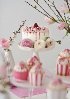 lemon cake and cupcakes with cream cheese frosting & raspberry glaze