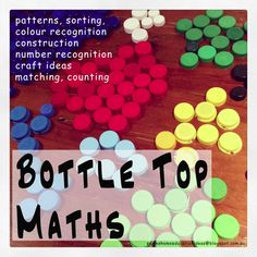 Bottle top maths Ideas on learning early maths concepts by using recycled Bottle Tops, link to printable - Suzie's Home Education Ideas - Bottle Top Maths Kindergarten Math, Teaching Math, Teaching Ideas, Math Resources, Preschool Activities, Taps, Early Math, Bottle Top, Math Concepts