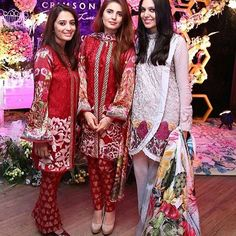 Spotted: Saira Faisal and Shakira Usman with #MominaMustehsan at the launch of Crimson Luxe by Saira Shakira  #HappeningNow  #SairaShakira #CrimsonLuxeBySairaShakira #CokeStudio