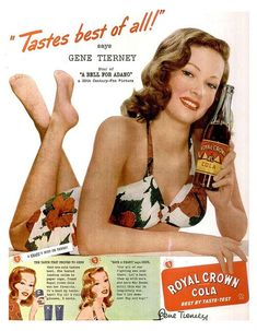RC Cola ad from 1945 featuring the ever-beautiful Gene Tierney. #vintage Save your family memories in the order they happened at http://www.saveeverystep.com